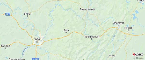 Карта Ашинского района Челябинской области с городами и населенными пунктами
