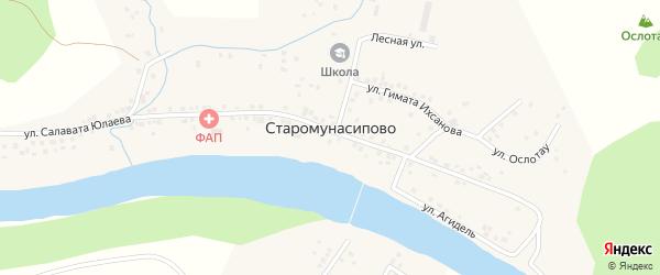 Мостовая улица на карте деревни Старомунасипово Башкортостана с номерами домов