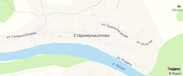 Лесная улица на карте деревни Старомунасипово с номерами домов