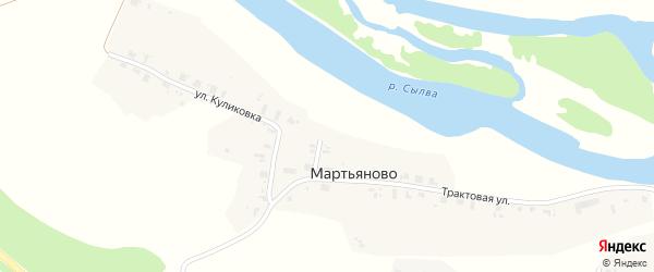 Трактовая улица на карте деревни Мартьяново Пермского края с номерами домов