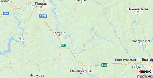 Карта Кишертского района Пермского края с городами и населенными пунктами