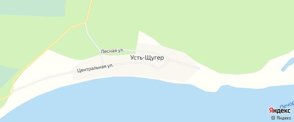 Карта деревни Устя-Щугера города Вуктыла в Коми с улицами и номерами домов