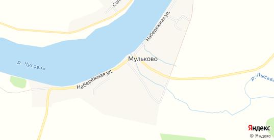 Карта деревни Мульково в Чусовом с улицами, домами и почтовыми отделениями со спутника онлайн