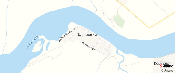 Карта деревни Шипицино города Чусового в Пермском крае с улицами и номерами домов