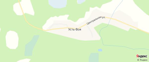 Карта деревни Усть-Воя города Вуктыла в Коми с улицами и номерами домов