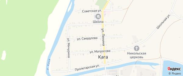 Улица Свердлова на карте села Каги Башкортостана с номерами домов