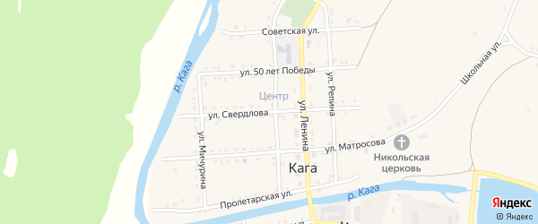 Улица Свердлова на карте села Каги с номерами домов