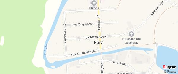 Улица Матросова на карте села Каги Башкортостана с номерами домов