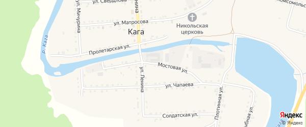 Мостовая улица на карте села Каги Башкортостана с номерами домов
