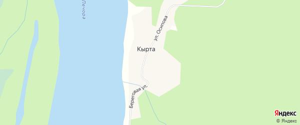 Карта поселка Кырты города Вуктыла в Коми с улицами и номерами домов