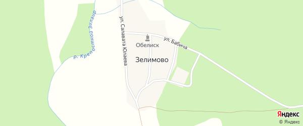 Улица М.Муртазина на карте деревни Зелимово с номерами домов