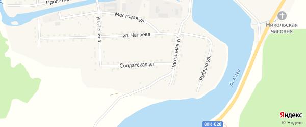 Солдатская улица на карте села Каги Башкортостана с номерами домов