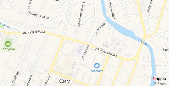 Улица Кирова в Симе с номерами домов на карте. Спутник и схема онлайн