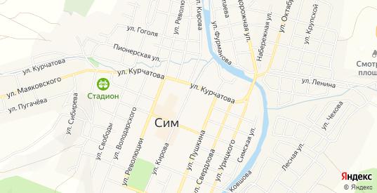 Карта поселка Караганка в Симе с улицами, домами и почтовыми отделениями со спутника онлайн