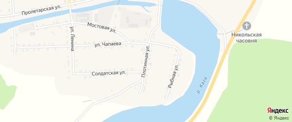 Плотинная улица на карте села Каги Башкортостана с номерами домов