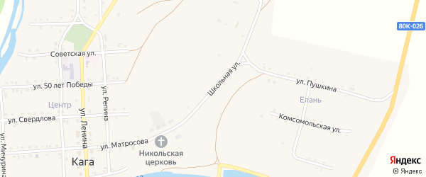 Школьная улица на карте села Каги Башкортостана с номерами домов