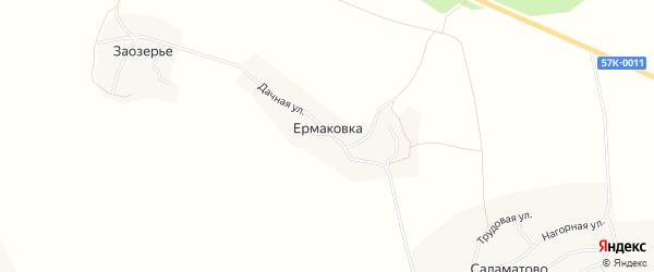 Карта деревни Ермаковки города Чусового в Пермском крае с улицами и номерами домов