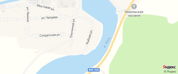 Рыбная улица на карте села Каги Башкортостана с номерами домов