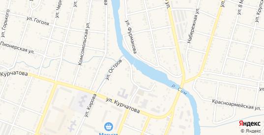Улица Остров в Симе с номерами домов на карте. Спутник и схема онлайн