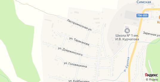 Улица Тараканова в Симе с номерами домов на карте. Спутник и схема онлайн