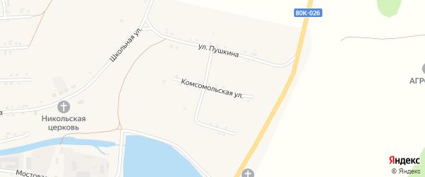Комсомольская улица на карте села Каги Башкортостана с номерами домов