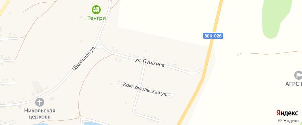 Улица Пушкина на карте села Каги с номерами домов