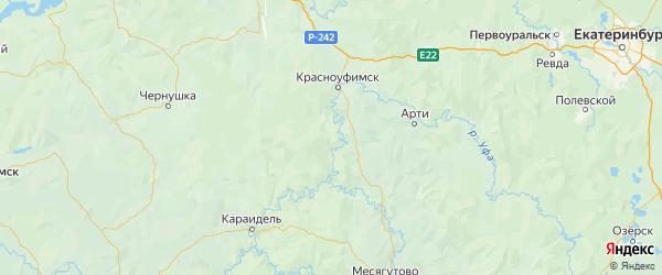 Карта Красноуфимского района Свердловской области с городами и населенными пунктами