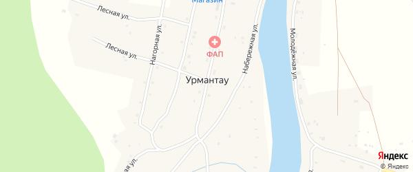Нагорная улица на карте села Урмантау с номерами домов