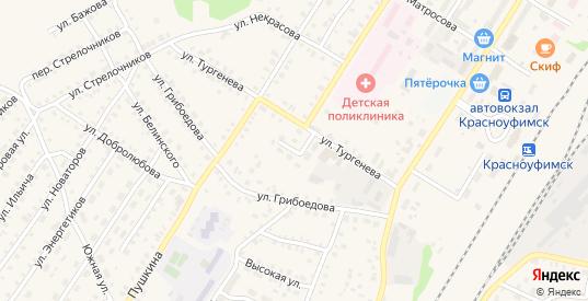 Переулок Тургенева в Красноуфимске с номерами домов на карте. Спутник и схема онлайн