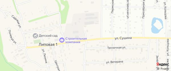 Солнечная улица на карте деревни Липовой I с номерами домов