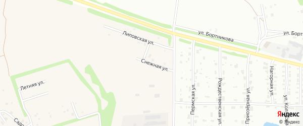 Снежная улица на карте деревни Липовой I с номерами домов