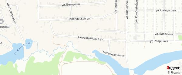 Первомайская улица на карте деревни Липовой I с номерами домов