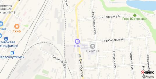 Улица Сухобского в Красноуфимске с номерами домов на карте. Спутник и схема онлайн