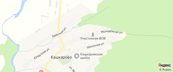 Молодежная улица на карте села Кашкарово Башкортостана с номерами домов