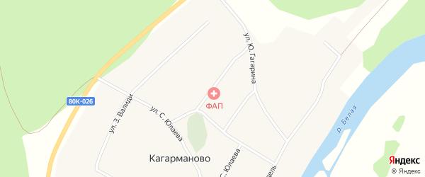 Улица М.Гареева на карте деревни Кагарманово Башкортостана с номерами домов