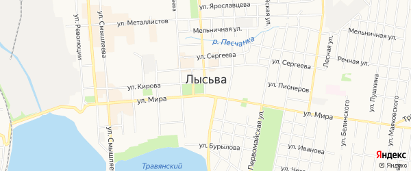 Садовое товарищество Сад N18 на карте Лысьвы с номерами домов