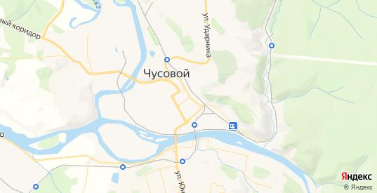 Карта Чусового с улицами и домами подробная. Показать со спутника номера домов онлайн