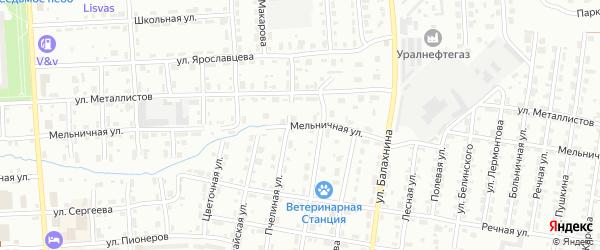 Мельничная улица на карте Лысьвы с номерами домов