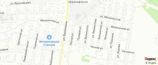 Полевая улица на карте Лысьвы с номерами домов