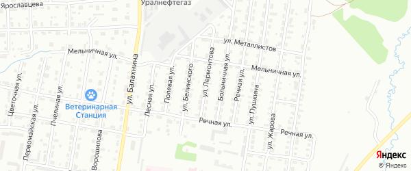 Улица Лермонтова на карте Лысьвы с номерами домов
