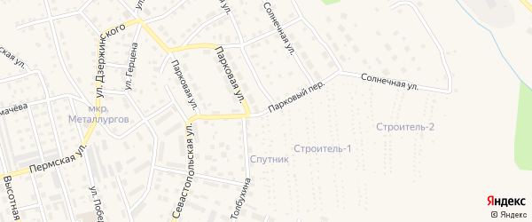 Парковый переулок на карте Чусового с номерами домов