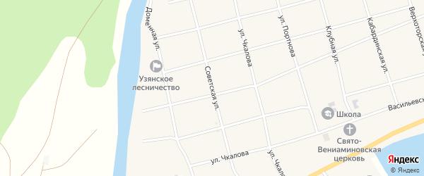 Советская улица на карте села Узяна с номерами домов