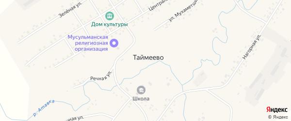 Центральная улица на карте села Таймеево Башкортостана с номерами домов