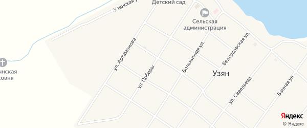 Улица Победы на карте села Узяна с номерами домов