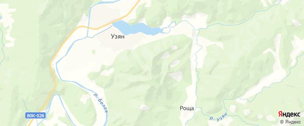 Карта Узянского сельсовета Республики Башкортостана с районами, улицами и номерами домов