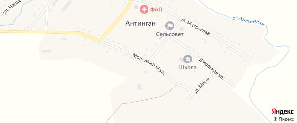 Молодежная улица на карте села Антингана с номерами домов