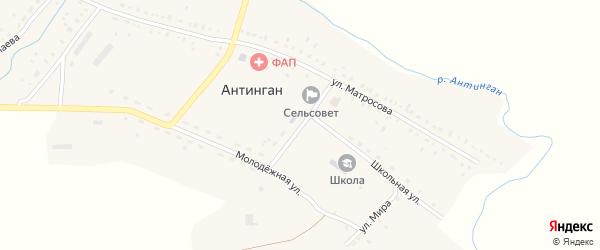Улица Каюма Ахметшина на карте села Антингана Башкортостана с номерами домов