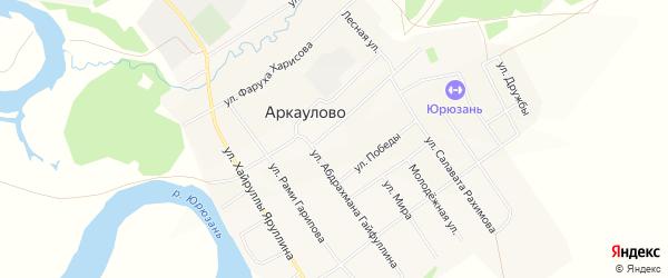 Карта села Аркаулово в Башкортостане с улицами и номерами домов