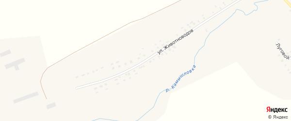 Улица Животноводов на карте села Ярославки Башкортостана с номерами домов