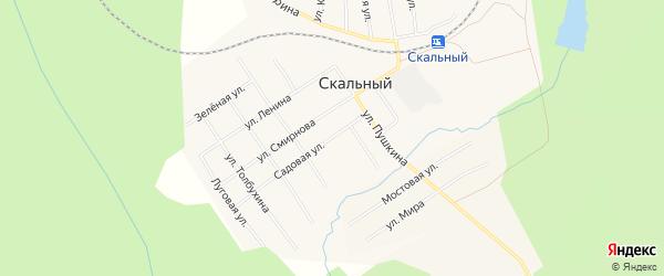Карта Скального поселка города Чусового в Пермском крае с улицами и номерами домов
